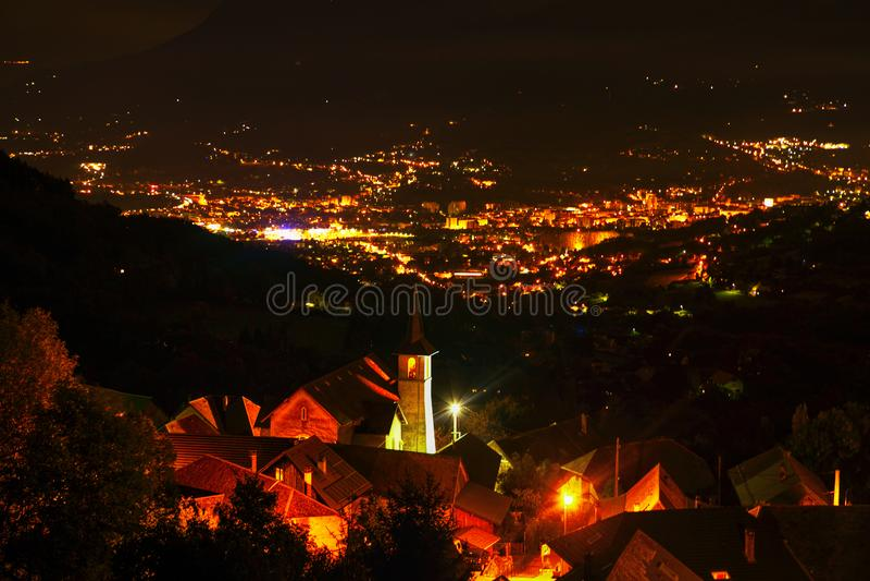 Night panorama of Chambery royalty free stock photo