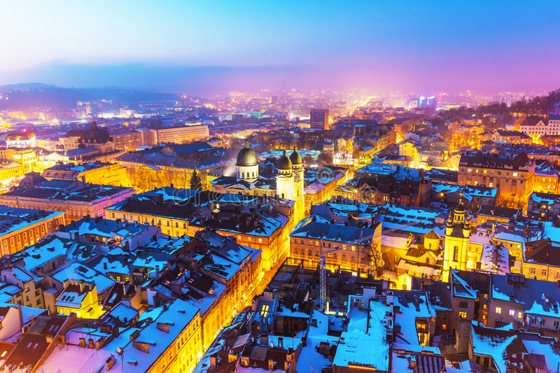 Night aerial view of Lviv, Ukraine stock photo