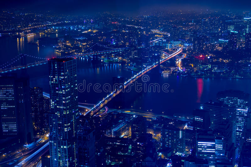Night Aerial View of New York City and the East-River Bridges stock photography