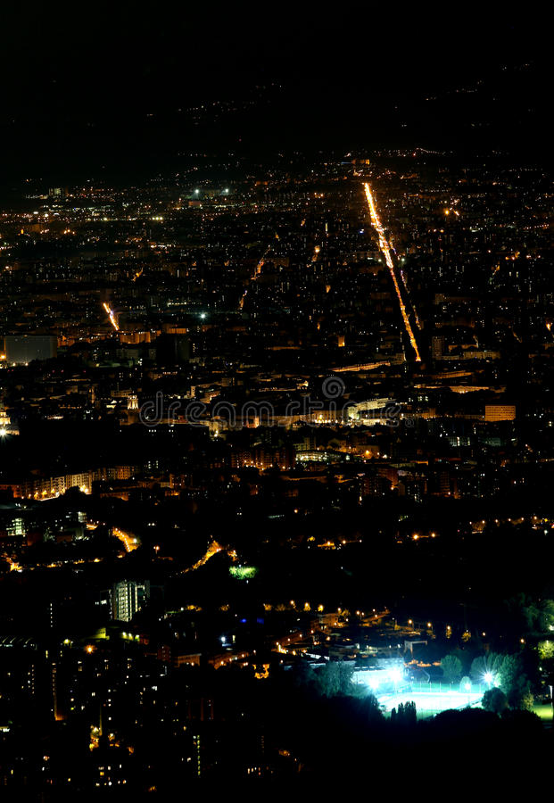Night aerial view of the populous European metropolis royalty free stock photography