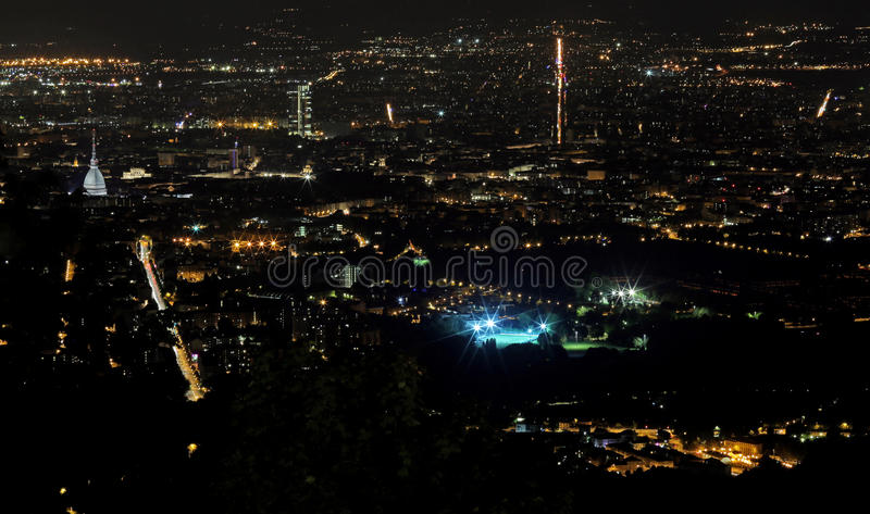 Night aerial view of the populous European metropolis royalty free stock images