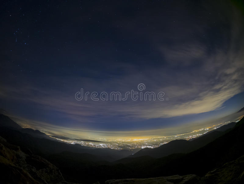Night aerial view of Rancho Cucamonga area. With stars and clouds, Los Angeles County, California stock photography