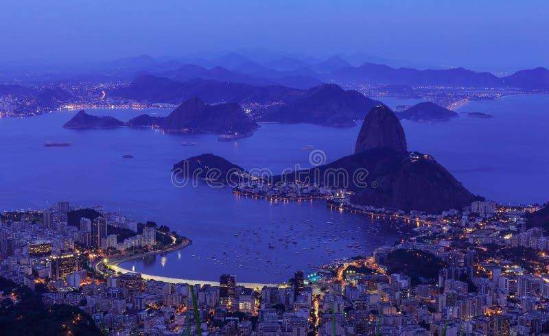 Night aerial view of Rio de Janeiro, mountain Sugar Loaf stock photography