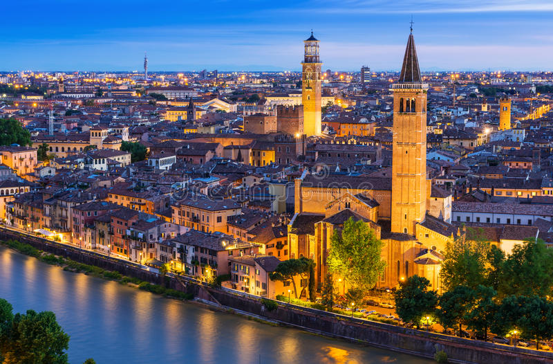 Night aerial view of Verona stock image
