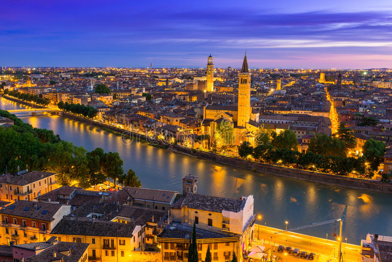 Night aerial view of Verona royalty free stock images