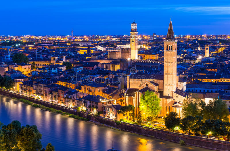 Night aerial view of Verona stock photo