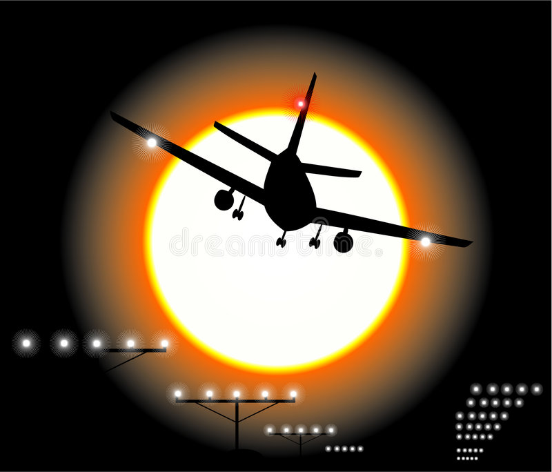 Night Airplane Landing. Airplane Landing in the sky royalty free illustration