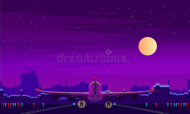 Night airport with takeoff of the plane. Night sky, landscape with building. Vector background. Night airport with takeoff of the plane. Night sky, landscape vector illustration