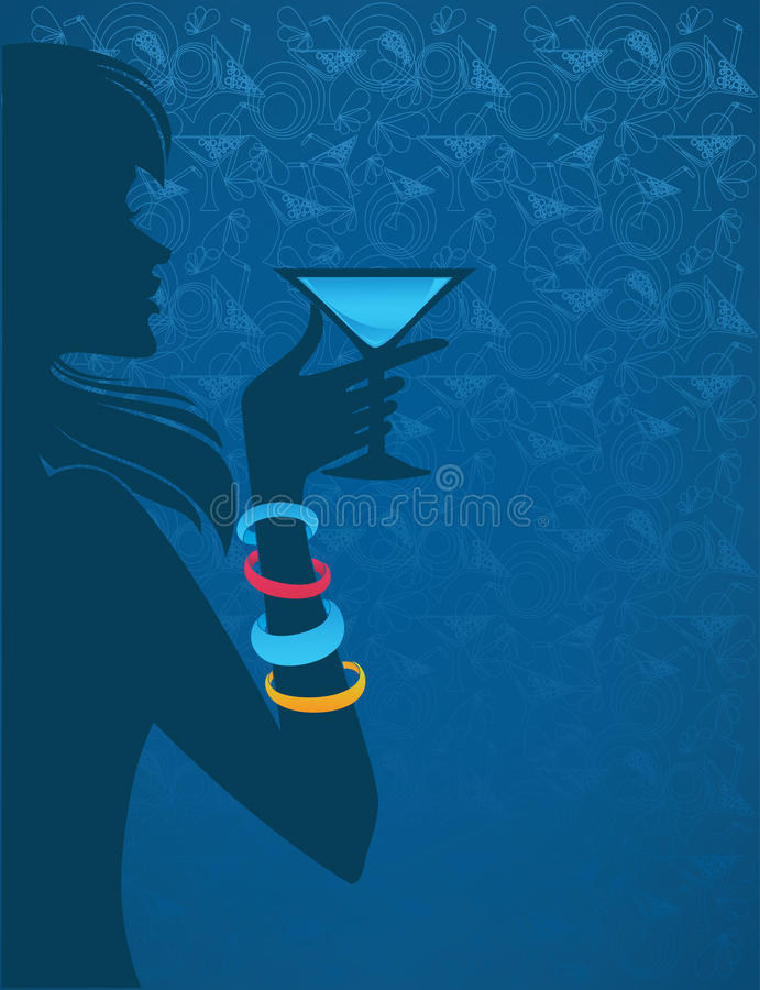 Night alcohol party. Vector background with girl, drink and pattern stock illustration