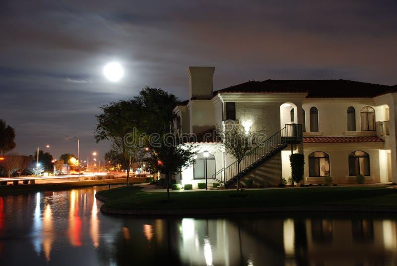Night apartments stock photo