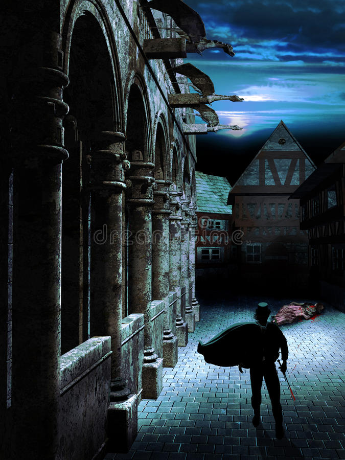 Night assassin. A street at night. Close to a cathedral, near several houses, we can see the corpse of a woman killed by a man who comes walking toward us with a