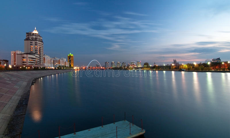 Download Night Astana stock photo. Image of attraction, harbor - 16951148