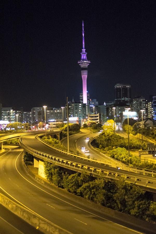 Night in Auckland City stock photos