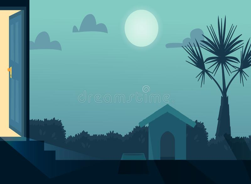 Night background with house garden in moonlight with foliage trees, palm and doghouse. Vector cartoon illustration of home outside vector illustration