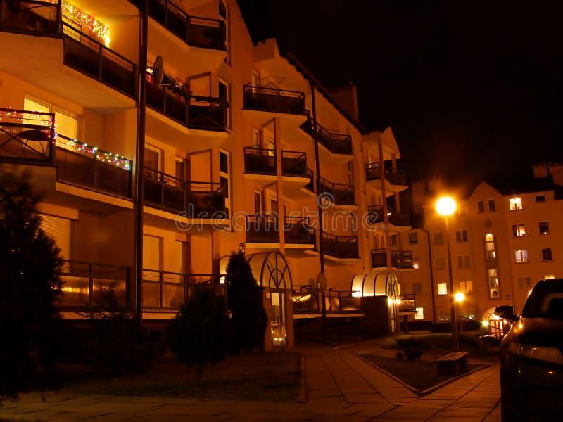 Night balconies stock photography