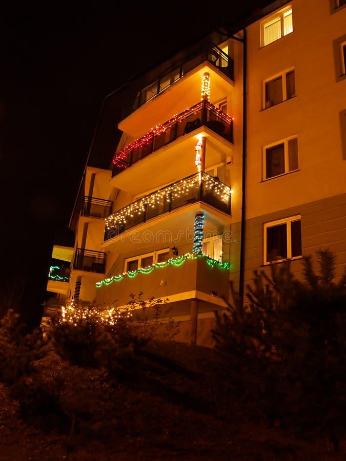 Night balconies royalty free stock photo
