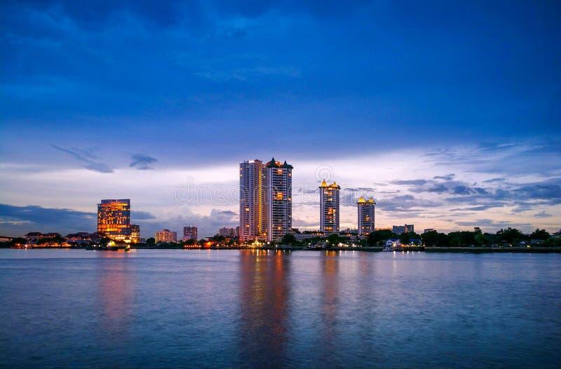 night in bangkok stock image