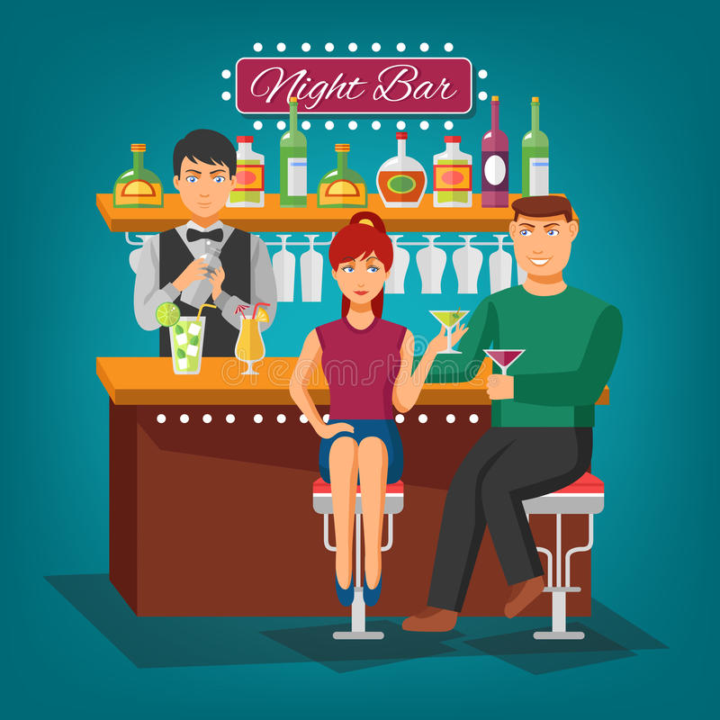 Night Bar Design Concept. Night bar flat shadow design concept with barman behind bar girl and young man with wineglasses vector illustration vector illustration