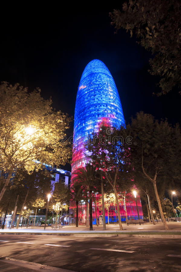 Night Barcelona Agbar Tower. Barcelona by night and Torre Agbar modern building on Avinguda Diagonal, Spain royalty free stock photography