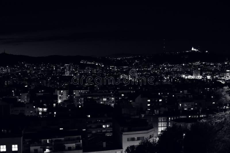Night in Barcelona city stock photos