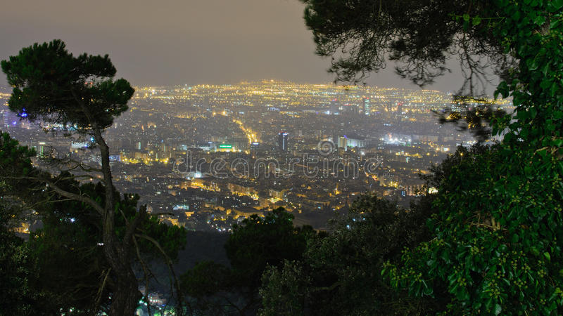 Night Barcelona. A postcard view of Barcelona from the Tibidabo hill stock photo