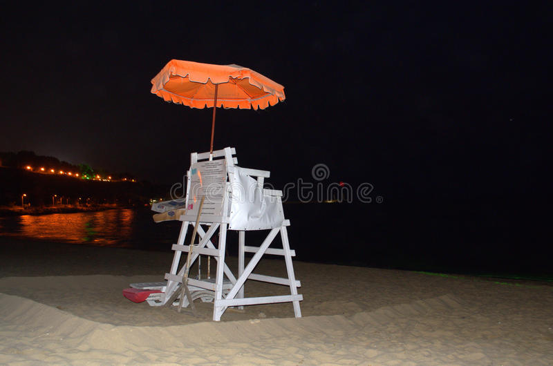 Night beach lifeguard post. Lifeguard post on night beach stock photos