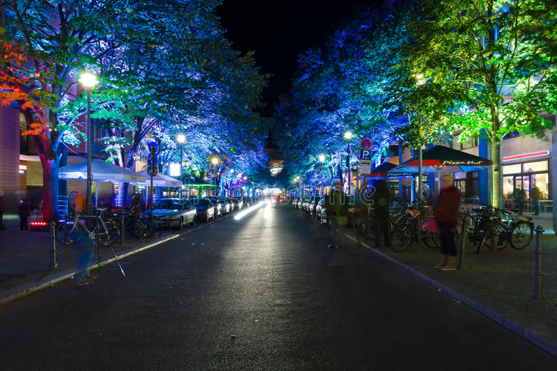 Download A Night In A Beautiful Street Lighting Near Potsda Editorial Photo - Image: 27242386