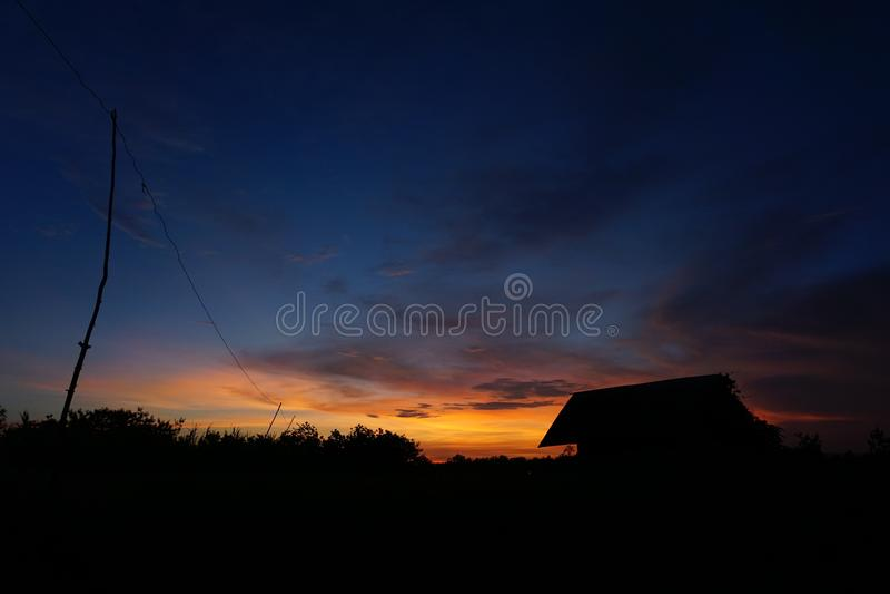 Sky sunset at field stock photos