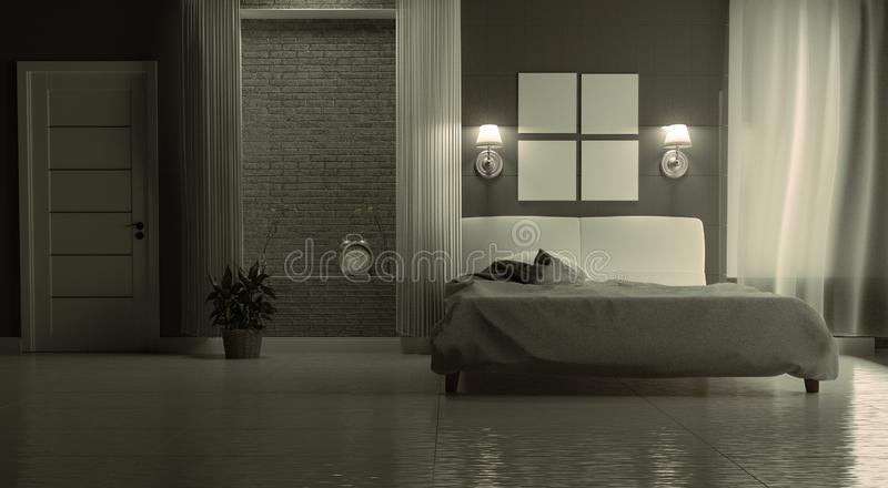 bedroom interior country modern concept country style   3d Rendering Of Modern House At Night Stock Illustration ...