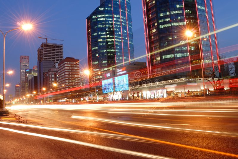 Night of Beijing. Traffic through downtown of Beijing,China stock images