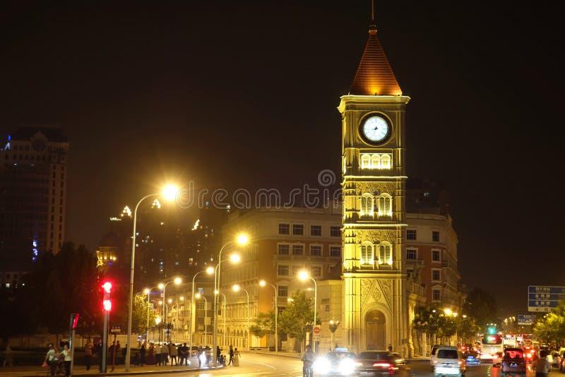 night bell tower stock photo