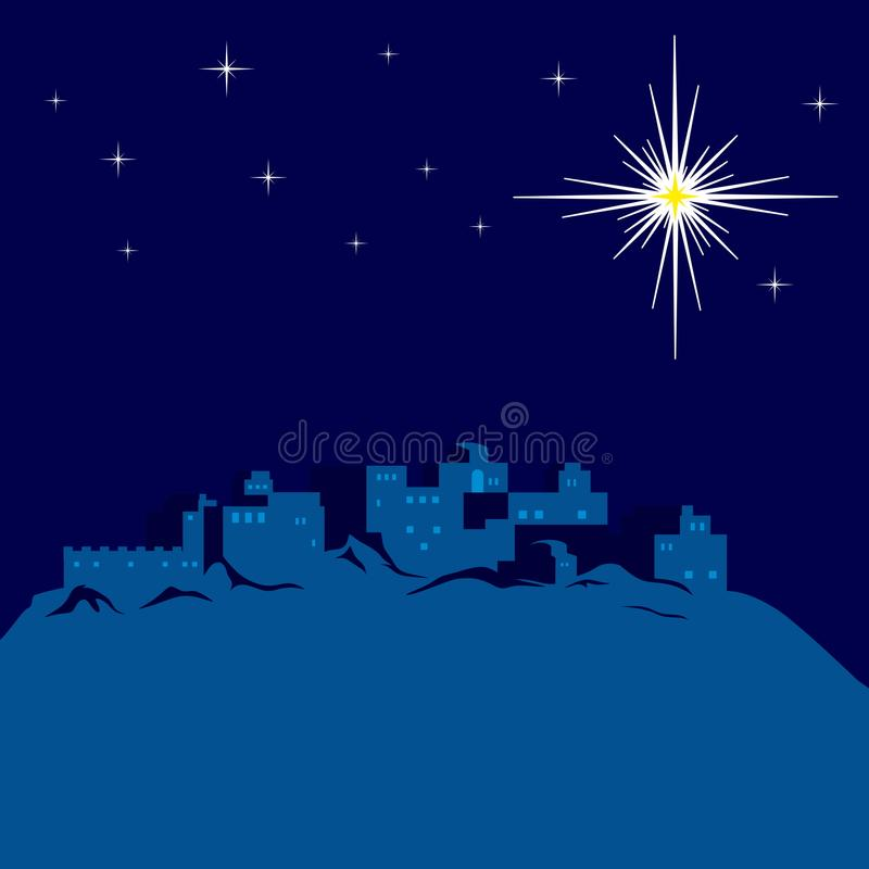 Night of Bethlehem, the city lights up a star. Night of Bethlehem, the city lights up a star stock illustration