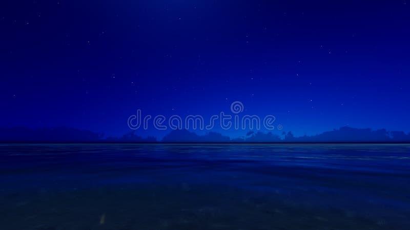 Night blue ocean 3D render vector illustration