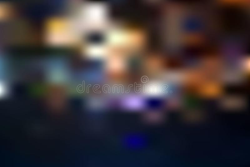 Night blurred lights in city. With little light bokeh reflection stock illustration