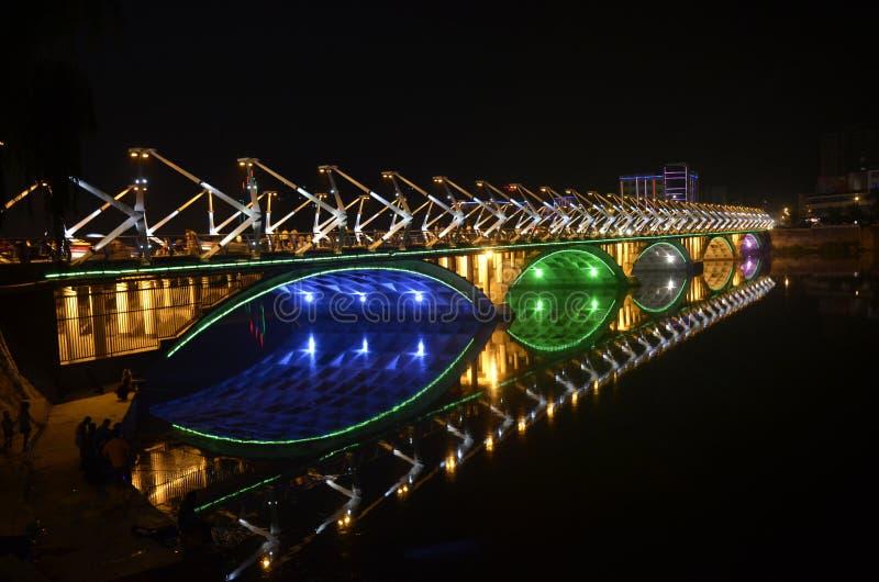 Download Night bridge stock image. Image of lamp, symmetry, cross - 21094407