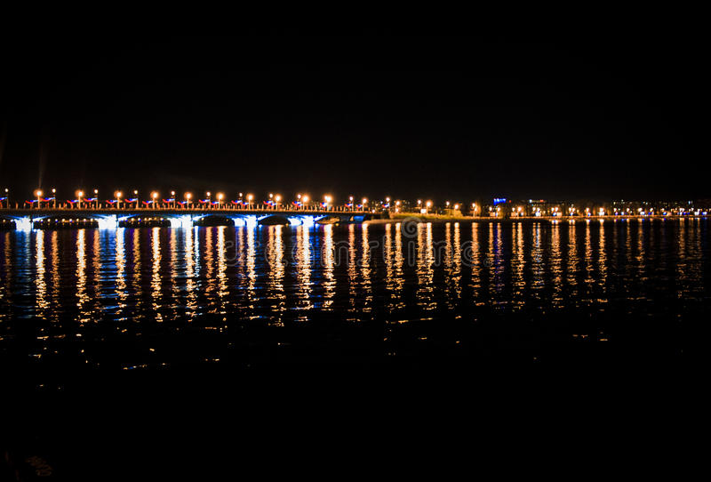 Download Night Bridge In The City Stock Photo - Image: 83721553