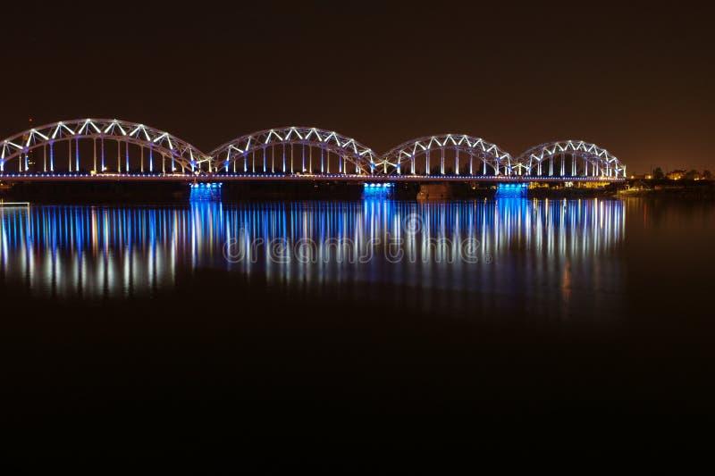 Night bridge in Riga stock image