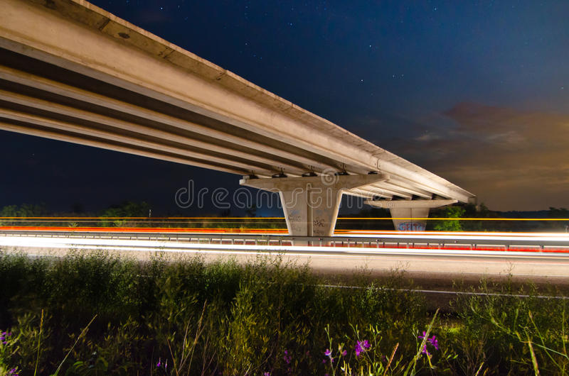 Download Night bridge to highway stock image. Image of road, city - 33186735