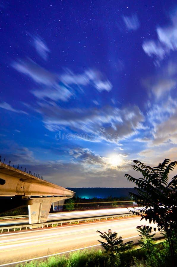 Night bridge to highway
