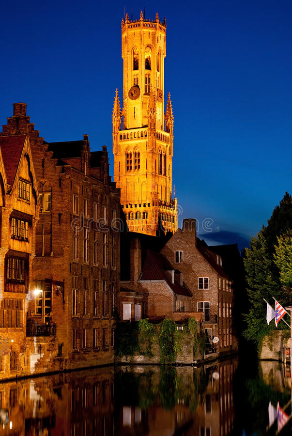 Night Brugge. View from the Rozenhoedkaai royalty free stock images
