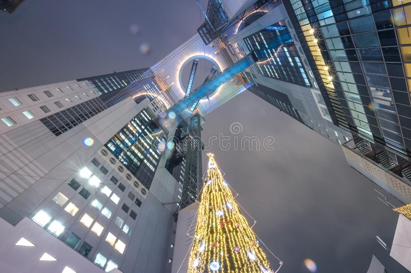 Night building scape view on Umeda Sky Building. In Osaka Prefecture, Japan stock photos