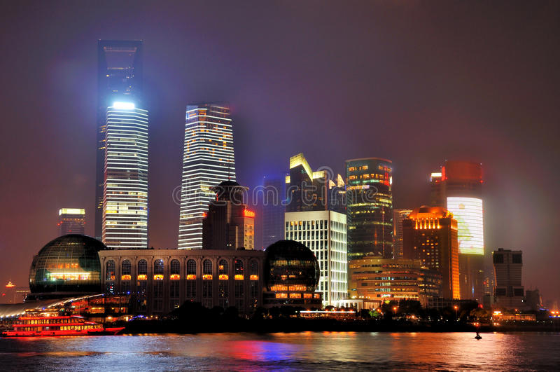 Download Night Buildings Of Pudong In Shanghai, China Stock Image - Image: 22306395