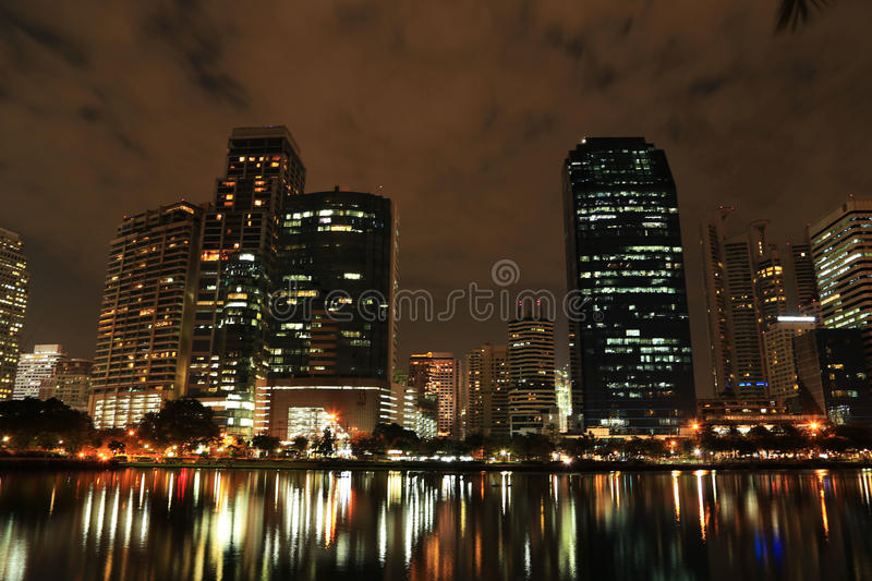 Night Buildings and Reflection stock image