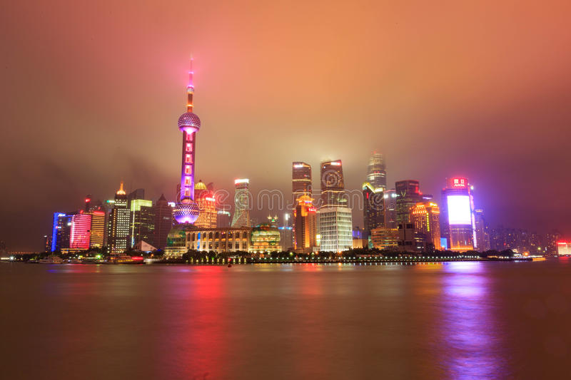 Night at the bund in Shanghai stock photography