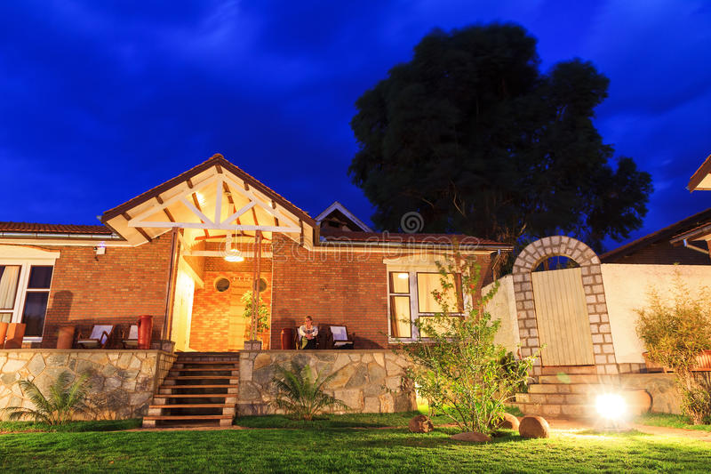 Night bungalow. Relaxing at night at a luxurious bungalow in Madagascar stock photography