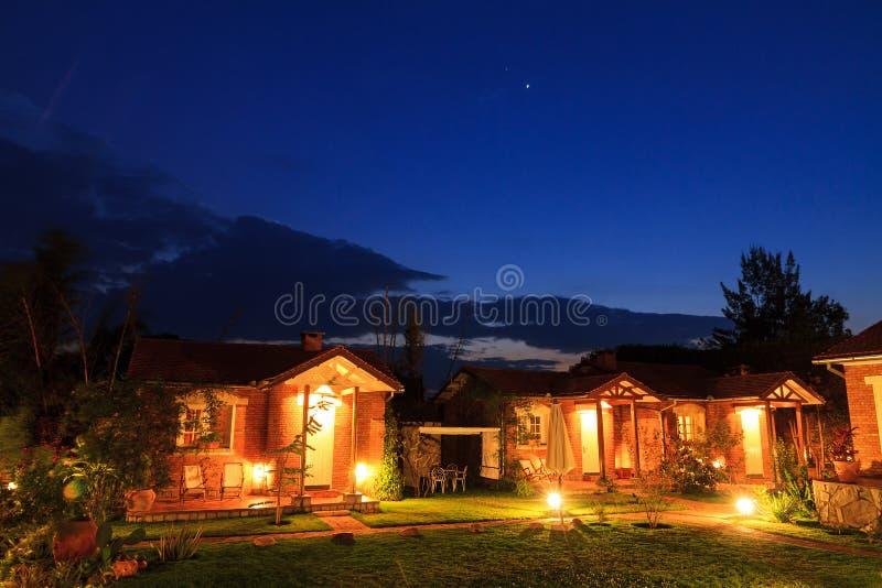 Night bungalows royalty free stock photo
