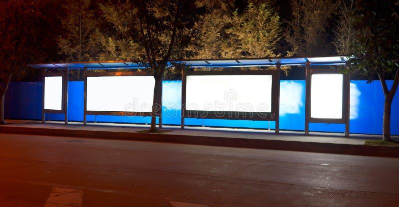 Night bus station stock photos