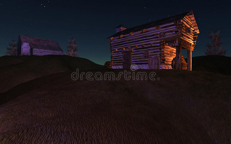 Download Night Cabin on Hill stock illustration. Image of house - 19884459