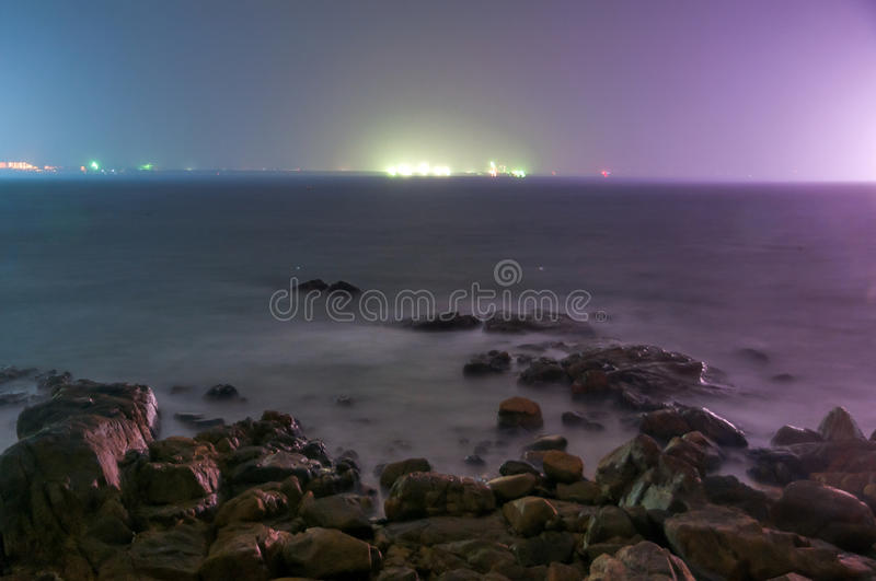 The night of calm ocean royalty free stock image
