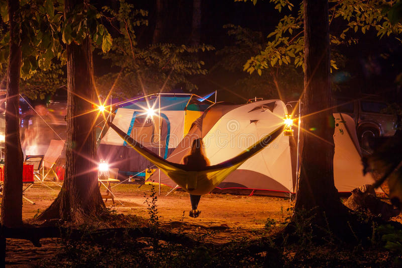 Night camping royalty free stock photography